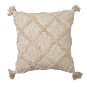 Embellished Cotton Cushion Ecru 45x45