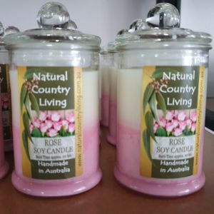 rose pink white soy candle jar