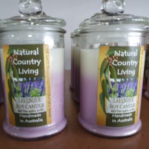 lavender purple white soy candle jar