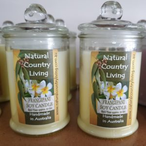 frangipani yellow white soy candle jar